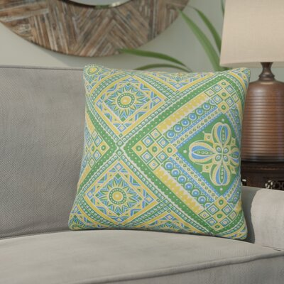 Delancy Geometric Outdoor Throw Pillow Cover Color: Green Yellow