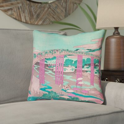 Enya Japanese Bridge Throw Pillow Color: Pink/Teal, Size: 14 x 14
