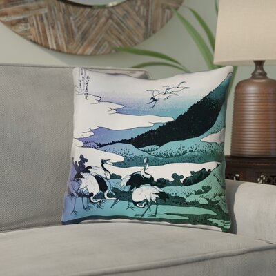 Montreal Japanese Cranes Double Sided Print Indoor Throw Pillow Size: 14 x 14 , Pillow Cover Color: Blue/Green