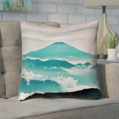 Enciso Fuji Suede Throw pillow Size: 14 H x 14 W, Color: Green