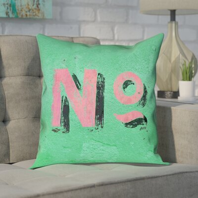 Enciso Graphic Wall Pillow Cover with Zipper Size: 20 x 20, Color: Green/Pink