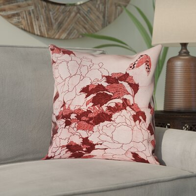 Clair Peonies and Butterfly Square Suede Pillow Cover Size: 16 H x 16 W, Color: Red