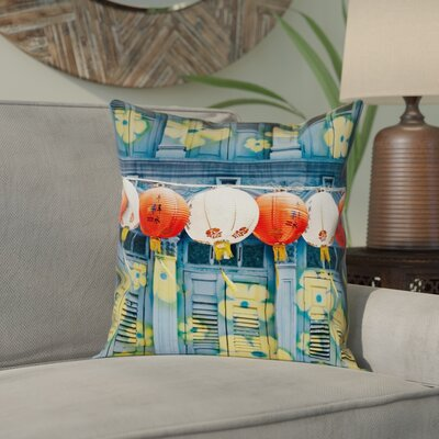 Akini Lanterns in Singapore Square Pillow Cover Size: 14 x 14