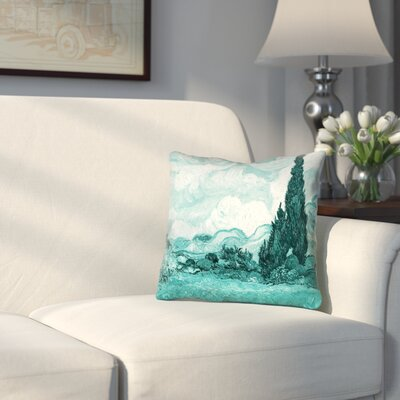 Woodlawn Teal Wheatfield with Cypresses Zipper Pillow Cover Size: 20 x 20