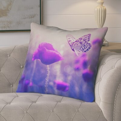Mariani Butterfly and Rose Faux Leather Throw Pillow Color: Purple, Size: 14 H x 14 W