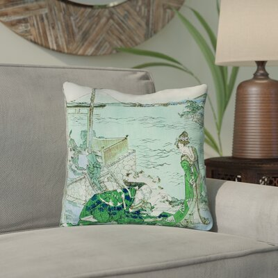 Enya Japanese Courtesan Double Sided Print Outdoor Throw Pillow Color: Green/Blue, Size: 16 x 16