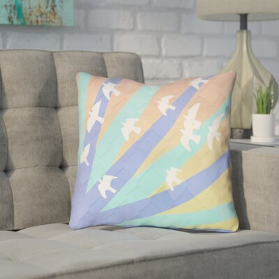 Enciso Birds and Sun Indoor Throw Pillow Color: Blue/Orange, Size: 16 x 16