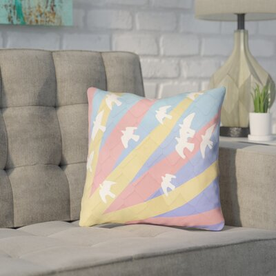 Enciso Birds and Sun Faux Leather Throw Pillow Color: Blue/Yellow/Orange, Size: 16 H x 16 W