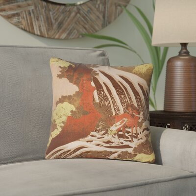 Channelle Horse and Waterfall Indoor/Outdoor Throw Pillow Color: Yellow/Brown, Size: 16 x 16
