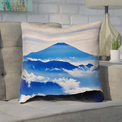 Enciso Fuji Linen Throw pillow Size: 18 H x 18 W, Color: Blue