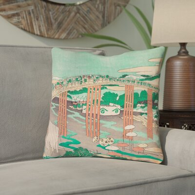 Enya Japanese Bridge Double Sided Print Throw Pillow Color: Green/Peach, Size: 14 x 14