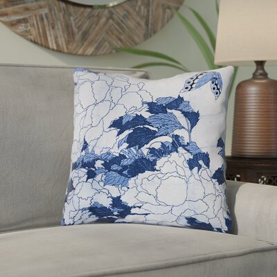 Clair Peonies and Butterfly Indoor Throw Pillow Size: 26 H x 26 W, Color: Blue
