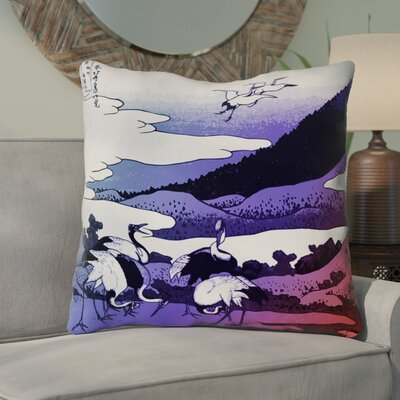 Montreal Japanese Cranes Outdoor Throw Pillow Size: 18 x 18 , Pillow Cover Color: Blue/Red