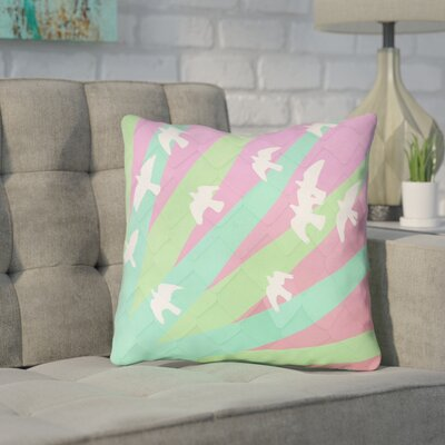 Enciso Birds and Sun Indoor Throw Pillow Color: Green/Pink, Size: 16 x 16