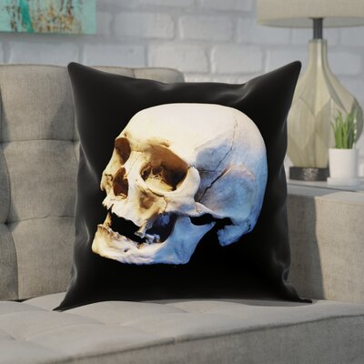 Mensa Skull Pillow Cover with Zipper Size: 14 x 14