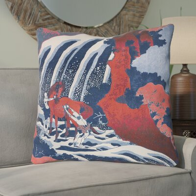 Channelle Horse and Waterfall 100% Cotton Euro Pillow Color: Red and blue