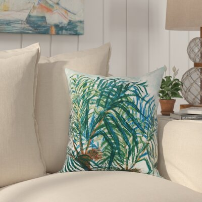 Jacque Palms Floral Print Outdoor Throw Pillow Size: 20 H x 20 W, Color: Aqua