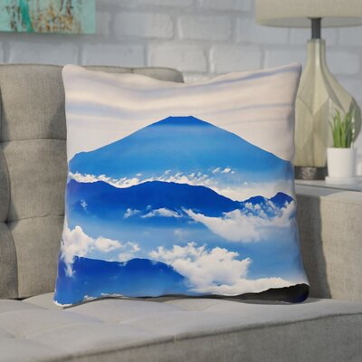 Enciso Fuji Double Side Throw pillow Size: 18 H x 18 W, Color: Blue