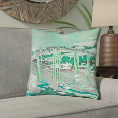 Enya Japanese Bridge Double Sided Print Throw Pillow Color: Green, Size: 14 x 14