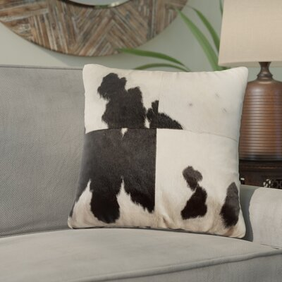Graham Square Hand Woven 100% Cowhide Throw Pillow
