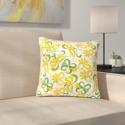 Maria Bazarova Green Flowers Abstract Digital Outdoor Throw Pillow Size: 16 H x 16 W x 5 D
