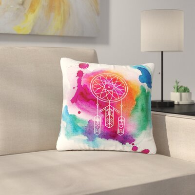 Dream in Color Rainbow Watercolor Outdoor Throw Pillow Size: 16