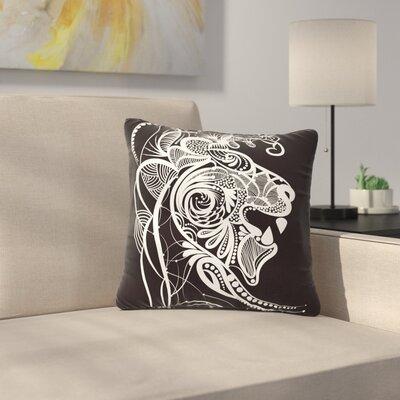 Maria Bazarova Kind Lion Outdoor Throw Pillow Size: 16 H x 16 W x 5 D