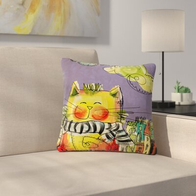 Carina Povarchik Urban Cat with Scarf Illustration Outdoor Throw Pillow Size: 18 H x 18 W x 5 D