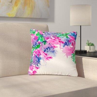 Ebi Emporium Floral Cascade Outdoor Throw Pillow Size: 16 H x 16 W x 5 D, Color: Pink