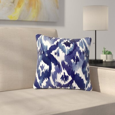 Crystal Walen Indigo Ikat - Diamond Outdoor Throw Pillow Size: 16 H x 16 W x 5 D