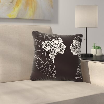 Maria Bazarova Two Twins Outdoor Throw Pillow Size: 16 H x 16 W x 5 D