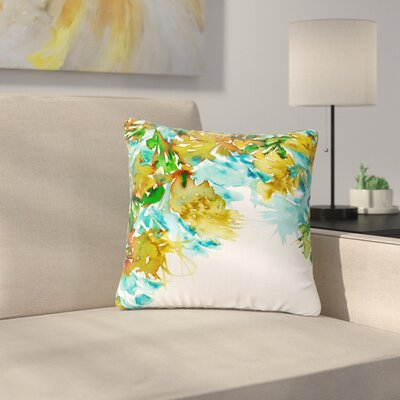 Ebi Emporium Floral Cascade Outdoor Throw Pillow Size: 16 H x 16 W x 5 D, Color: Yellow/Green