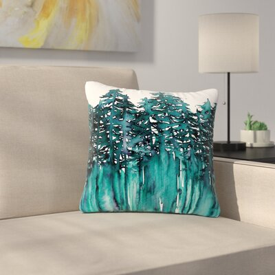 Ebi Emporium Forest Through the Trees Outdoor Throw Pillow Size: 18 H x 18 W x 5 D, Color: Teal/White
