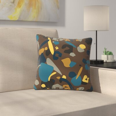 Luvprintz Abstract Leoparc Outdoor Throw Pillow Size: 18 H x 18 W x 5 D, Color: Teal/Brown