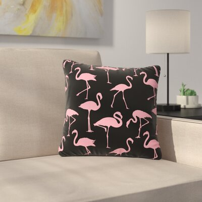 Illustration Wildlife Outdoor Throw Pillow Size: 18 H x 18 W x 5 D, Color: Black