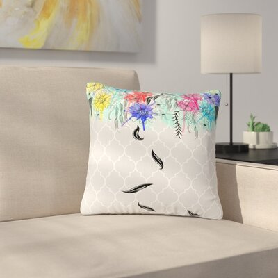 Famenxt Watercolor Spring Floral Outdoor Throw Pillow Size: 16 H x 16 W x 5 D