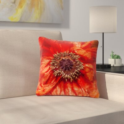 Ginkelmier Poppy Floral Outdoor Throw Pillow Size: 18 H x 18 W x 5 D
