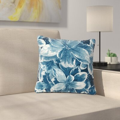 Julia Grifol Leaves Floral Outdoor Throw Pillow Size: 18 H x 18 W x 5 D, Color: Blue
