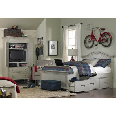 Naples Storage Panel Bed Color: Gray Satin, Size: Full