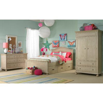 Naples Storage Panel Bed Color: Driftwood, Size: Twin