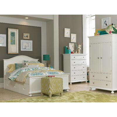 Naples Storage Panel Bed Color: Snow White, Size: Full
