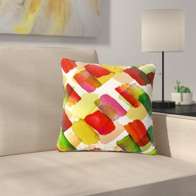 Ebi Emporium Strokes of Genius Outdoor Throw Pillow Size: 16 H x 16 W x 5 D, Color: Gold/White
