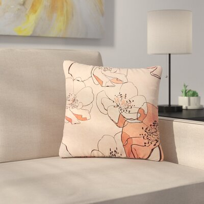Alison Coxon Painted Wild Roses Floral Outdoor Throw Pillow Size: 16 H x 16 W x 5 D, Color: Coral
