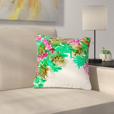 Ebi Emporium Floral Cascade Outdoor Throw Pillow Size: 16 H x 16 W x 5 D, Color: Green