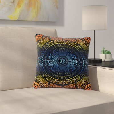 Famenxt Night Queen Boho Mandala Illustration Outdoor Throw Pillow Size: 16 H x 16 W x 5 D