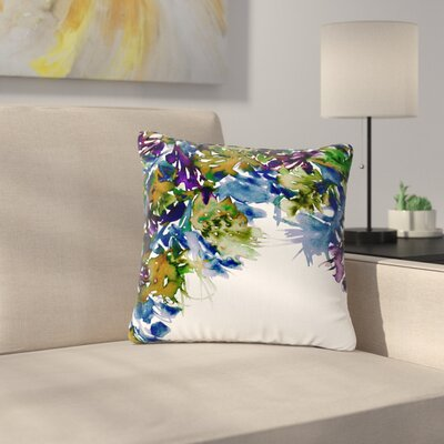 Ebi Emporium Floral Cascade Outdoor Throw Pillow Size: 18 H x 18 W x 5 D, Color: Purple