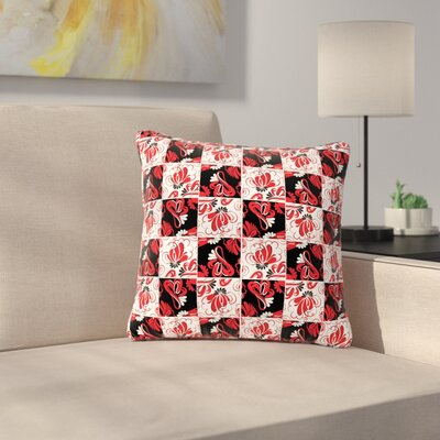 Maria Bazarova Texture Flowers Abstract Outdoor Throw Pillow Size: 16 H x 16 W x 5 D