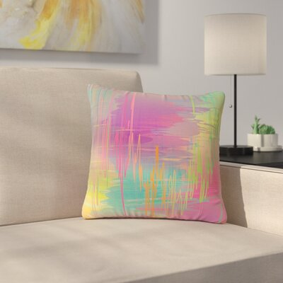 Graphic Tabby Rainbow Storm Abstract Outdoor Throw Pillow Size: 16 H x 16 W x 5 D