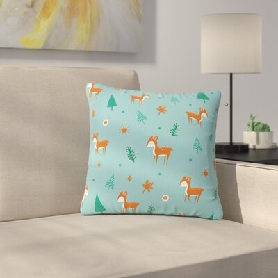Cristina Bianco Cute Deer Pattern Kids Outdoor Throw Pillow Size: 16 H x 16 W x 5 D