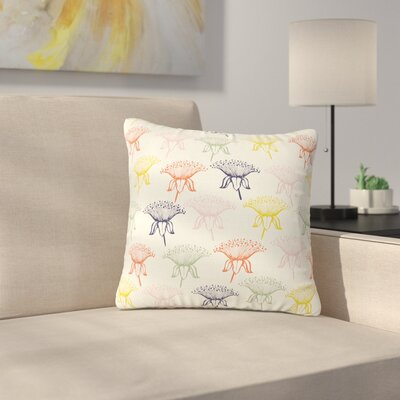 Gukuuki Rainbow Poppies Floral Outdoor Throw Pillow Size: 16 H x 16 W x 5 D